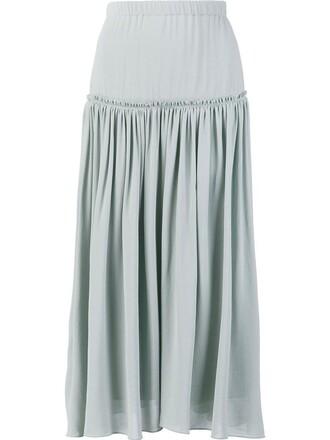 skirt midi skirt pleated women midi blue silk