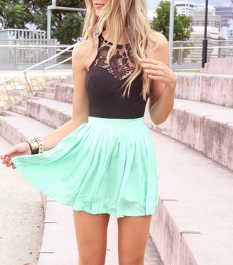 mint high waisted skirt lace top black top mint dress gold chain skater dress skater skirt date outfit