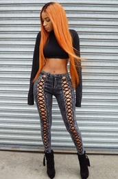 jeans,lace up,lace up pants,sexy,sexy pants,party outfits,sexy outfit,date outfit,blue,black,ripped,pattern,criss cross,style