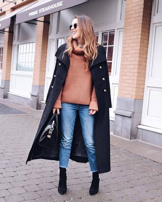 sweater tumblr turtleneck turtleneck sweater knit knitwear knitted sweater denim jeans boots black boots coat black coat