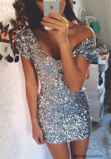 Silver Sequined - Dress | Lookbook Store