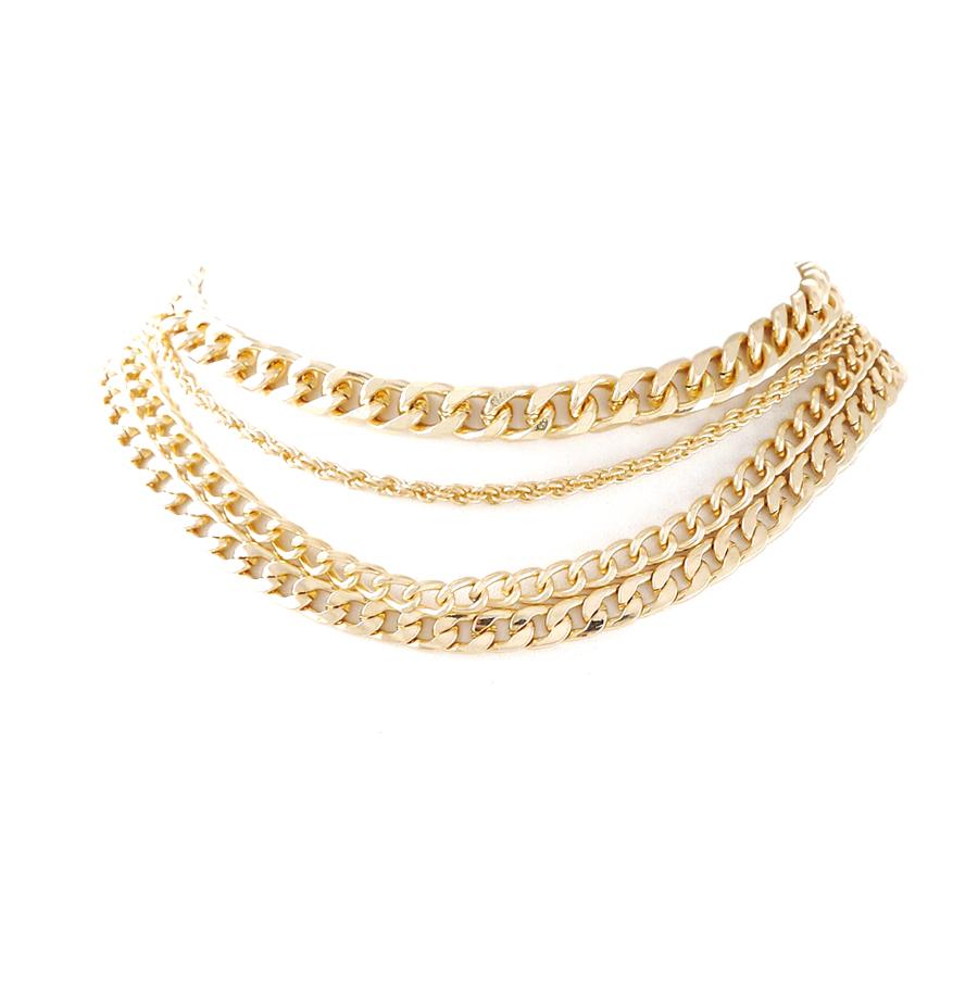 Layered Chain Gold Choker Necklace