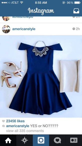 off the shoulder navy