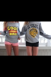 sweater,cool story bro,warn a brother,light sweater,toy story,warner brothers,blouse,grey,warner bros,grey sweater,top