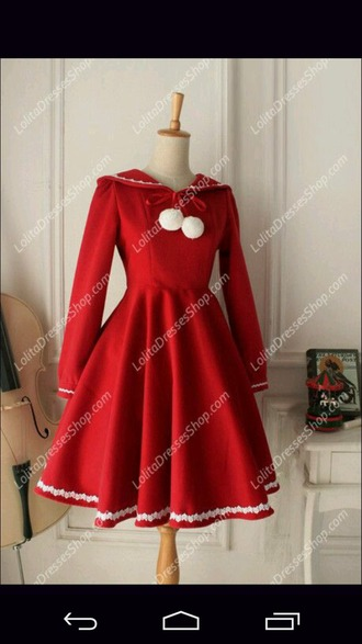 dress christmas kawaii lolita loli red cute anime hood