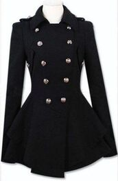black trenchcoat,coat,jacket,girly,cute,fashion,style,black,fall outfits,buttons,long sleeves,blazer,dark blue