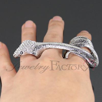 """hot now"" three finger rhinestone snake ring fg1871"