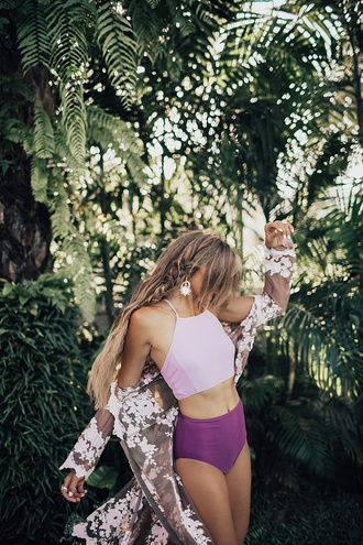 swimwear tumblr swimwear two piece bikini bikini top bikini bottoms halter neck bikini lilac cover up earrings