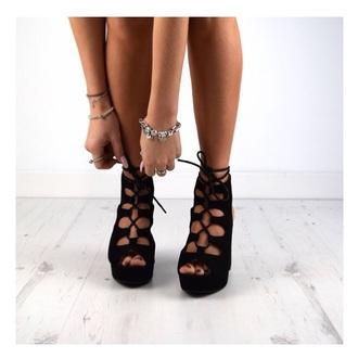 shoes black suede black shoes heels black block heel pumps lace up clubwear fashion
