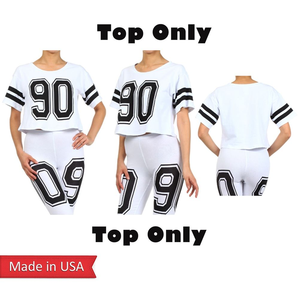 Women trend celebrity oversized cropped #90 number cotton print t shirt top usa