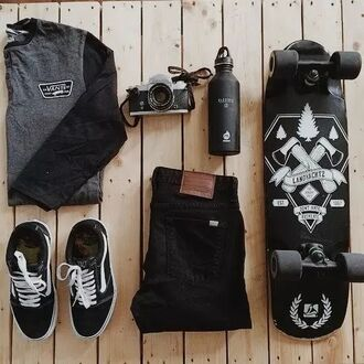t-shirt hipster wishlist vans skateboard water bottle