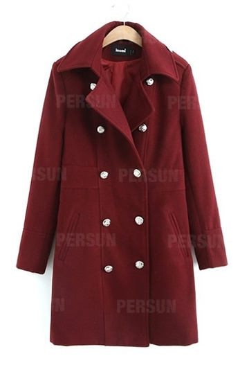 Double breasted long woolen coat [shwm00015]