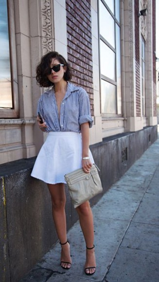 blue and white blouse stripe casual relaxed style