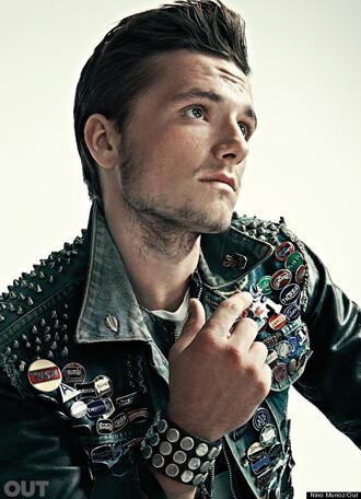 jacket jeans pins jacket denim jacket spiked moto jacket