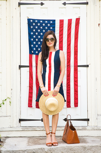 classy girls with pearls blogger july 4th straw hat leather sandals shift dress striped dress brown leather bag
