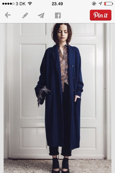 beautiful 2014 blue blue coat long coat coat jacket blue coat, kylie jenner