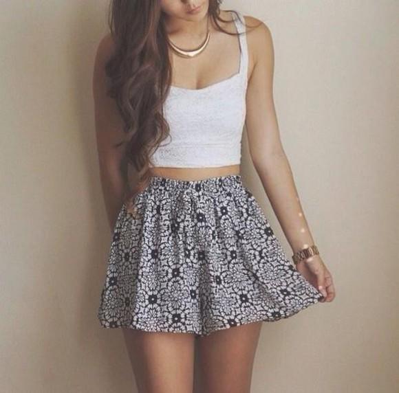 skirt white floral floral skirt crop tops shirt