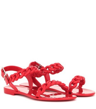 sandals flat sandals red shoes