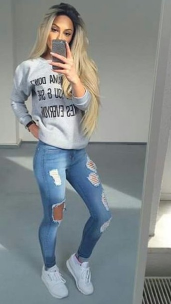 d6c66ee597 shoes white shirt jeans ripped jeans white shoes sweater cute gorgeous  viral graphic sweater cool girly