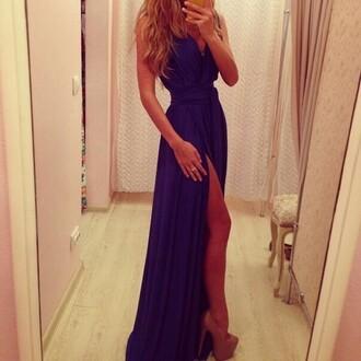 purple slit purple dress dress formal dress