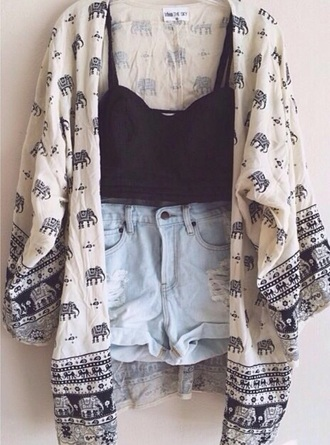 cardigan eephant indie tribal its really cool and neto!! elephant sweater tank top