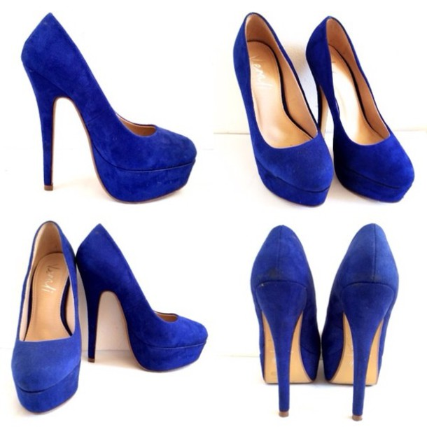 Shoes: suede shoes, blue high heels, platform high heels, platform ...