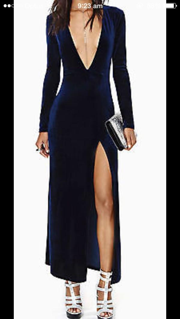 dress velvet navy blue backless split up leg