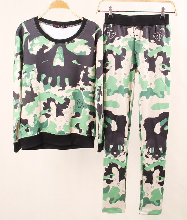 Lethalbeauty ? camo green skull print two piece set