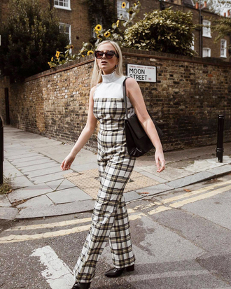jumpsuit tumblr plaid tartan top white top turtleneck sleeveless sleeveless top wide-leg pants sunglasses