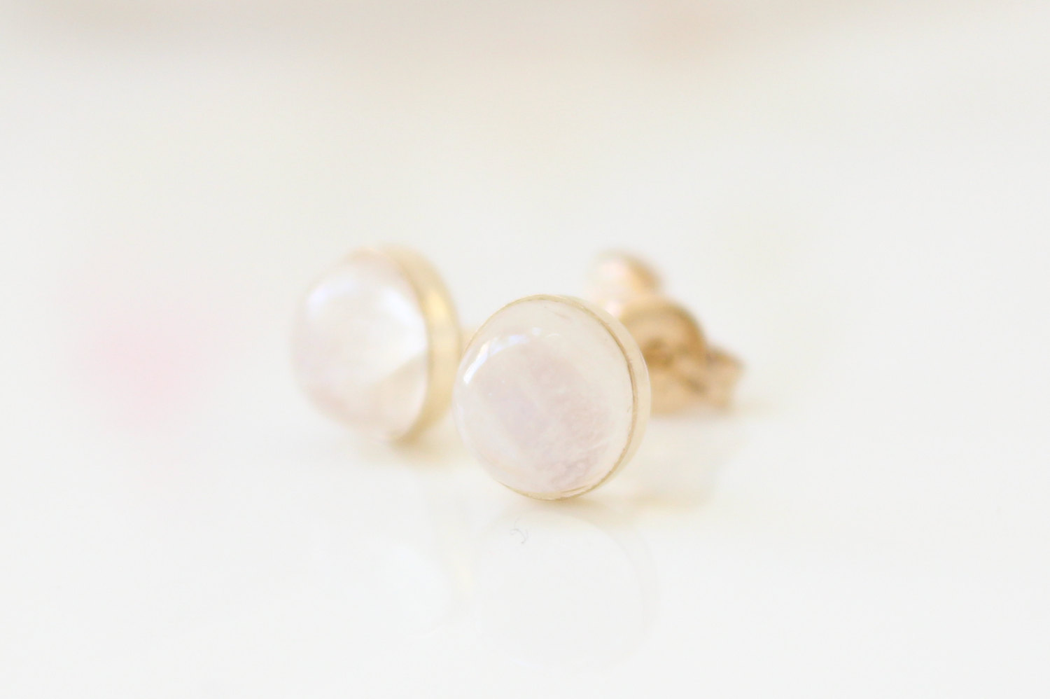 Moonstone stud earrings, Gold post earrings set with rainbow moonstone gemstones