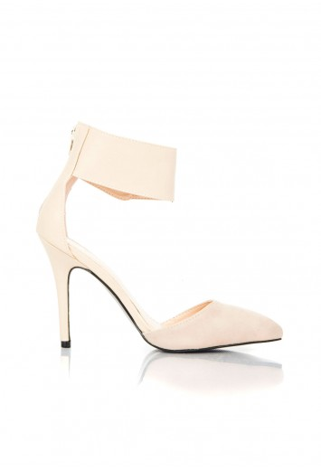 Missguided - Sonia Suede and Leather Contrast Heels In Beige