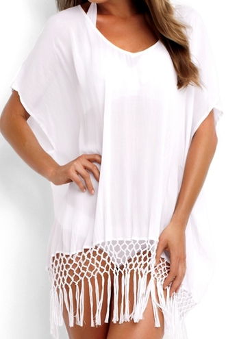blouse top white white top fringe fringed top white fringe top white fringe blouse beach white beachwear casual casual outfits outfit summer summer top summer outfits zaful v neck boho bohemian bohemian top cover up white cover up midi kaftan tassel splicing