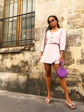 bag,purple bag,round bag,top,skirt,shoes,sunglasses