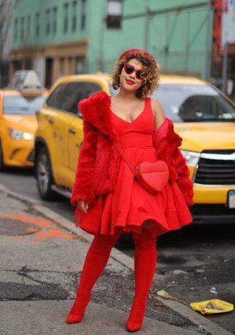 colormecourtney blogger dress coat bag shoes sunglasses all red wishlist heart bag red bag red dress red boots thigh high boots heart sunglasses beret red coat faux fur coat