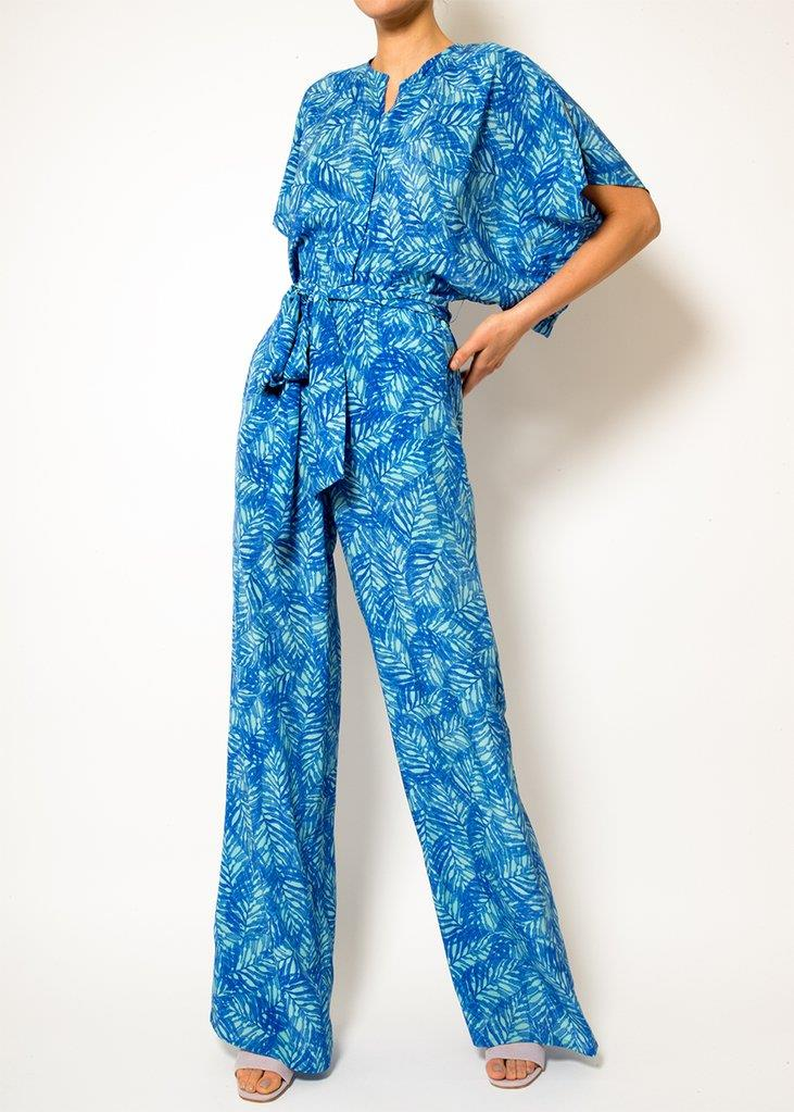 Natasha Blue Feathers Jumpsuit