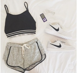 athleta calvin klein shorts shirt booty shorts underwear calvin klein underwear black top nike nike running shoes white grey grey with black lined shorts tank top grey shorts calvin klein bra nike sneakers white sneakers sportswear sports shoes blouse