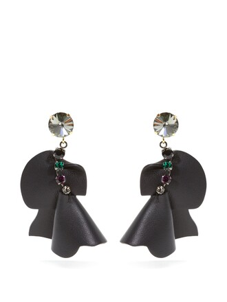 embellished earrings leather black jewels
