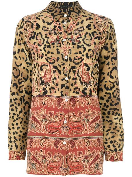ETRO blouse women print silk brown leopard print paisley top