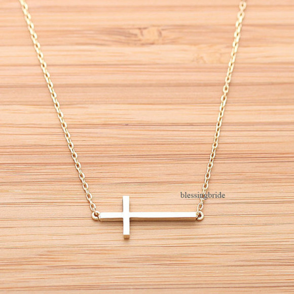 cross jewelry jewels necklace cross necklace sideways cross baptism sideways cross necklace easter christmas gift