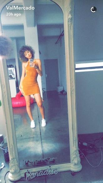 dress orange dress bodycon dress mini dress