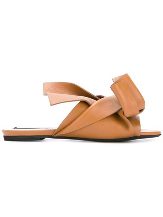 bow women sandals flat sandals leather brown shoes