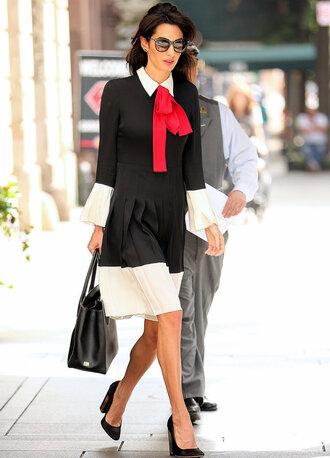 dress collared dress amal alamuddin pumps fall outfits fall dress pleated dress