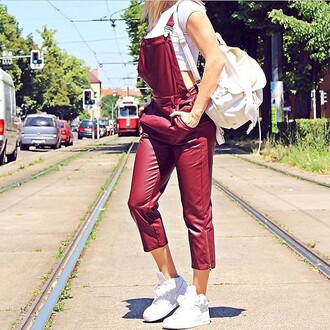 pants overalls capri leather faux leather burgundy navy jumper jumpsuit instagram blogger trendyish