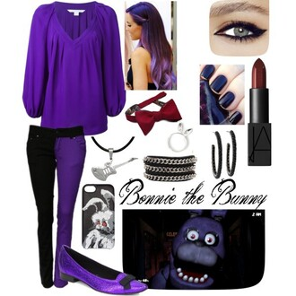 blouse bonnie bunny fnaf gaming cosplay characters evil characters character based purple purple jeans purple shoes bowtie red red bowtie red bow red lipstick black and purple nails nail polish loose blouse multicolor multicolored jeans hoop earrings bunny ring ring silver guitar guitar necklace phone cover bracelets horror cute hip trendy wig purple wig ombre ombre wig wavy hair wavy wig lavender lavender wig character purple nails ombre wavy hair extensions jeans jewels home accessory hair accessory shoes