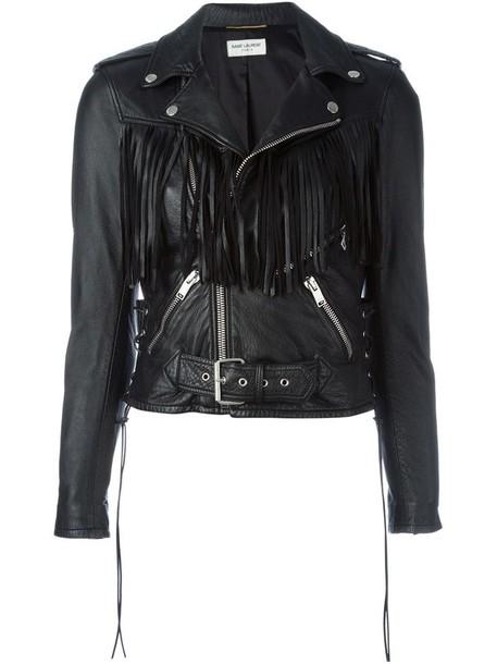 Saint Laurent jacket biker jacket women cotton black
