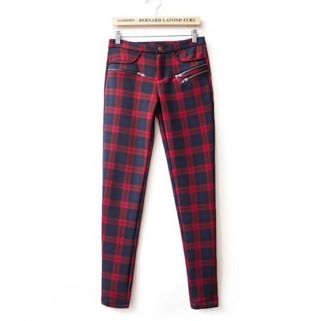 Plaid print skinny zippers pants