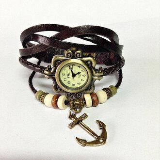 jewels charm bracelet anchor watch anchor bracelet leather watch watch vintage fashion accessories