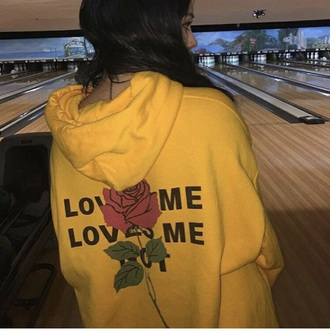 sweater hoodie love me not black red print casual cool hype yellow