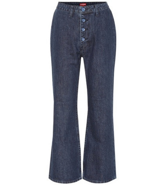 Staud Helena high-rise flared jeans in blue