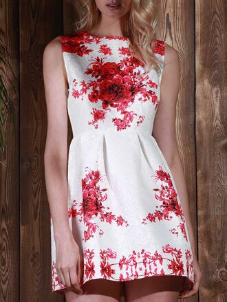 dress white floral red summer girly spring beautiful gamiss